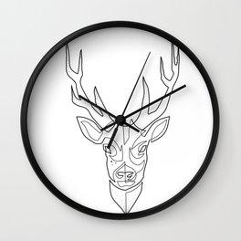 Deer Drawing in One Line Wall Clock