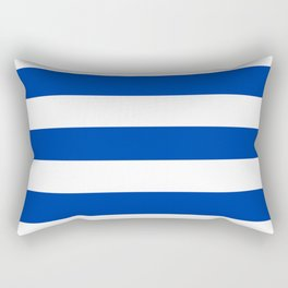 Royal azure - solid color - white stripes pattern Rectangular Pillow