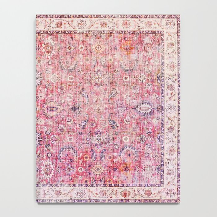 N45 - Pink Vintage Traditional Moroccan Boho & Farmhouse Style Artwork. Notebook