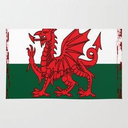 Y Ddraig Goch Grunge Welsh Flag Rug