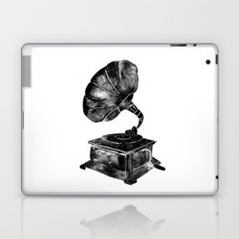 GRAMOPHONE, black and white Laptop & iPad Skin