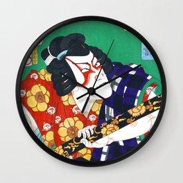 Samurai, Kabuki Actor, Ytani Tomomatsu Kabuki Actor in the role of Sodehagi, Restored Antique Ukiyo-e Color Japanese Woodblock Print Wall Clock