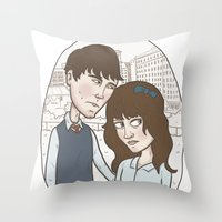 500 days of summer Throw Pillows featuring 500 days of summer portrait. by Nic Lawson