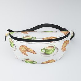 Watercolor Coffee and Croissant Pattern Fanny Pack