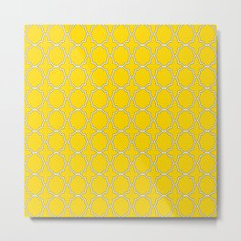 Gold Yellow Quatrefoil Pattern Metal Print