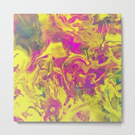 Colour Swirl - Yellow, pink and blue Abstract Metal Print
