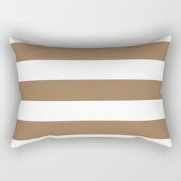 Pale brown - solid color - white stripes pattern Rectangular Pillow