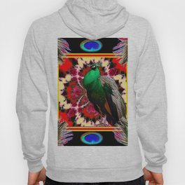 GREEN PEACOCK & FEATHERS RED-BLACK ART Hoody