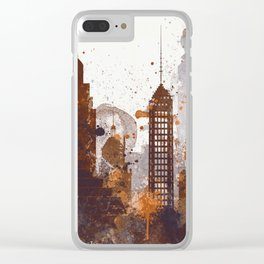 Brown Sacramento watercolor skyline Clear iPhone Case