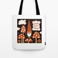 gnome Tote Bags featuring Gnome Sweet Gnome by kelbug studio