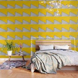 Minimal geometric building city - yellow/black Wallpaper