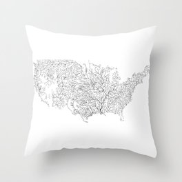 US River Map, River art, American River Map, Hydrological Map Throw Pillow