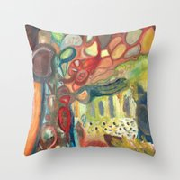sasquatch Throw Pillows featuring Sasquatch by Dena Nord
