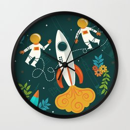 Race to the Moon with Flower Power Wall Clock