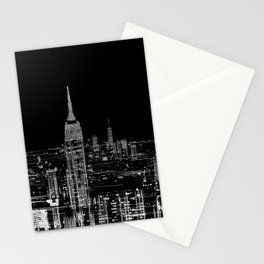 Contemporary Elegant Silver City Skyline Design Stationery Cards