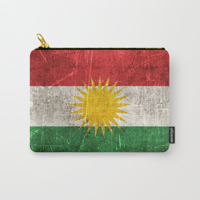 Vintage Aged and Scratched Kurdish Flag Carry-All Pouch