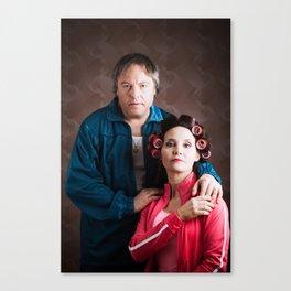 dingy couple family portrait. Canvas Print