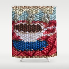 rain in my tea, rain in my coffee, tapestry, weaving, knitting, tea, coffee, tea cup, yarn, rain, Shower Curtain