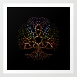 Colorful Tree of life with Triquetra Art Print