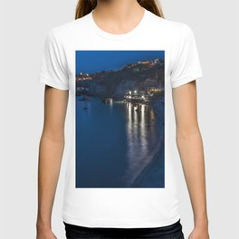 Photos Italy Ischia Crag Coast Night Houses Cities Rock Cliff night time Building T-shirt