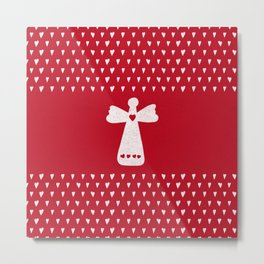 Christmas Angel with hearts on red Metal Print