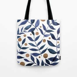 Watercolor berries and branches - indigo and beige Tote Bag