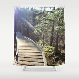 Footbridge to Highpeaks  Shower Curtain