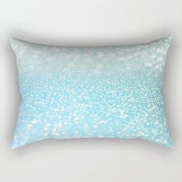 Mermaid Sea Foam Ocean Ombre Glitter Rectangular Pillow