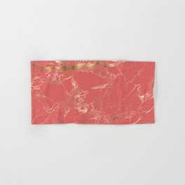 Marble, Coral + Gold Veins Hand & Bath Towel
