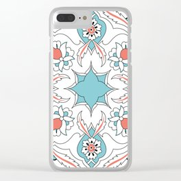 Turquoise Floral Tile Art Clear iPhone Case
