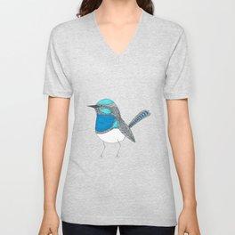 Illustrated Blue Wren with Line Art Unisex V-Neck