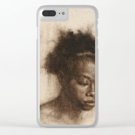 Shawna Portrait Painting of African Woman in Brown Clear iPhone Case
