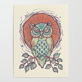 Owl on branch Poster