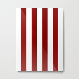 Vertical Stripes - White and Dark Red Metal Print