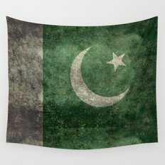 The National Flag of Pakistan - Vintage Version Wall Tapestry