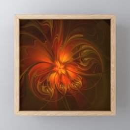Burning, Abstract Fractal Art With Warmth Framed Mini Art Print