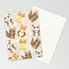 Funny cute raccoon, panda, fox, cat on dot background Stationery Cards