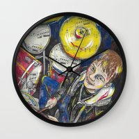 drum Wall Clocks featuring Drum 1 by Ed Rucker