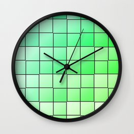 Green squares gradient pattern Wall Clock