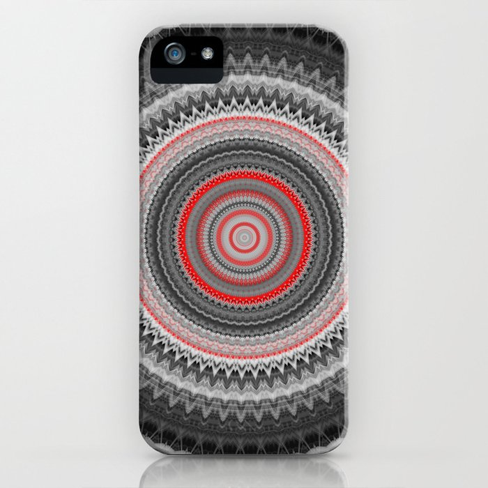 Black Grey Boho Mandala iPhone Case