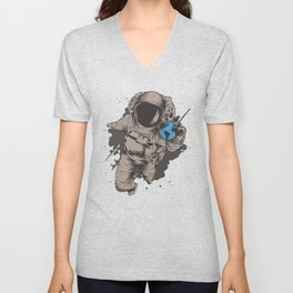 Astronaut With Earth Globe In His Hand Unisex V-Neck