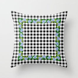 Blue Flowers on Black Check - more colors Throw Pillow