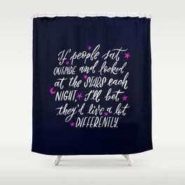 Look at the Stars - Deep Blue Shower Curtain