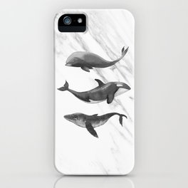 Ocean Whales Marble Black and White iPhone Case