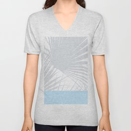 Tropical Pastel Grey Palm Leaves on Soft Blue Unisex V-Neck