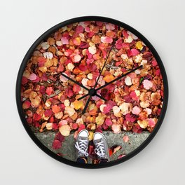Christmas Leaves in Sonoma County Wall Clock
