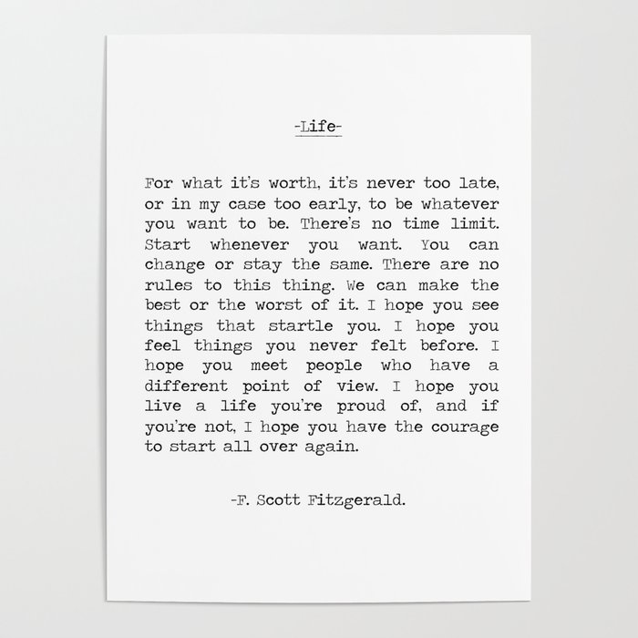 Life Quote F Scott Fitzgerald Poster By Summersoulco