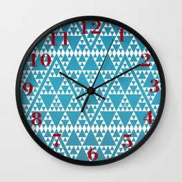 Triangles in Triangles White on Blue Wall Clock