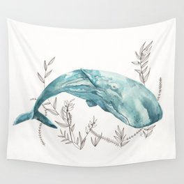 Sperm Whale Watercolor Wall Tapestry