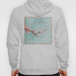 Live life in full bloom - Romantic Spring Cherry Blossom butterfly Watercolor illustration on aqua Hoody